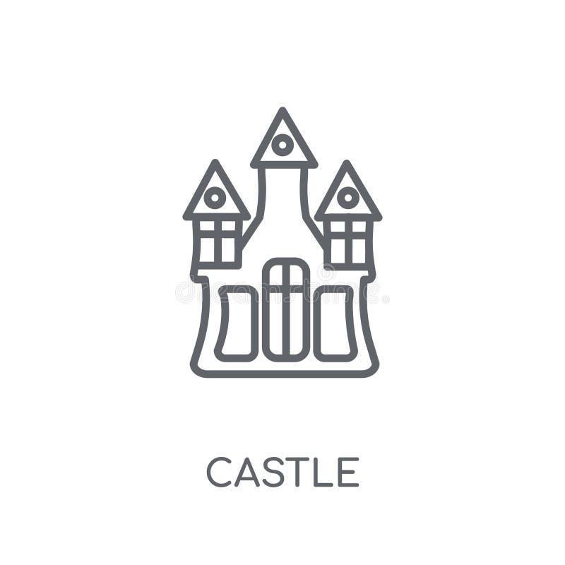 Linjär symbol för slott Modernt begrepp för översiktsslottlogo på vit royaltyfri illustrationer
