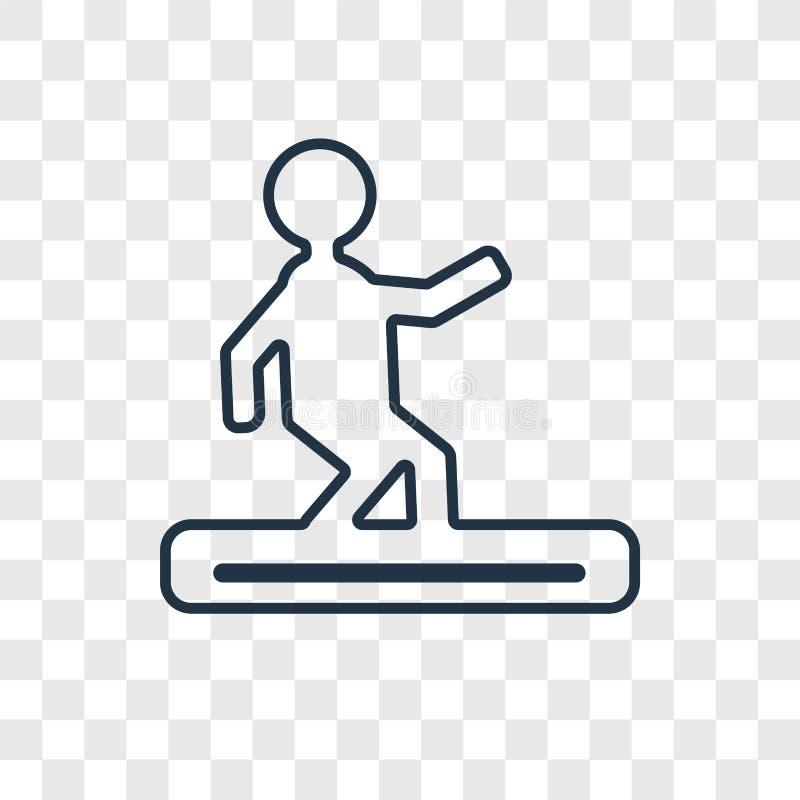 Linjär symbol för Snowboardbegreppsvektor som isoleras på genomskinlig bac stock illustrationer