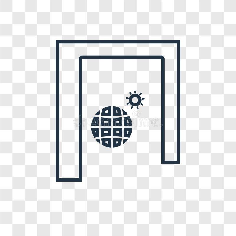 Linjär symbol för solståndbegreppsvektor som isoleras på genomskinlig baksida stock illustrationer