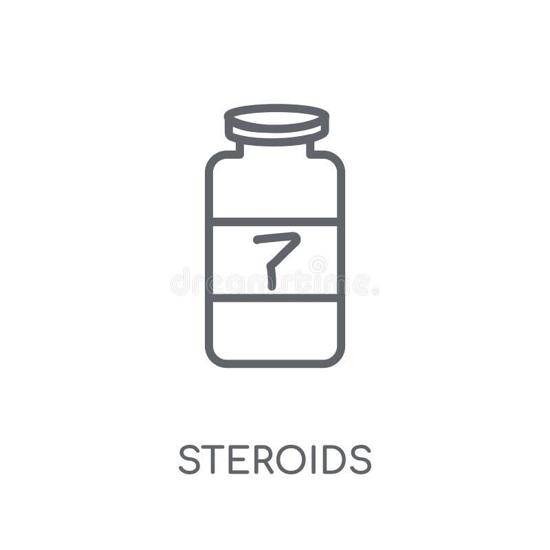 Linjär symbol för steroider Modernt begrepp för översiktssteroidlogo på wh vektor illustrationer