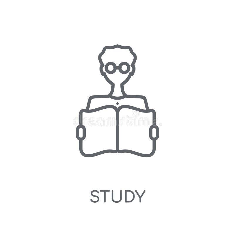 Linjär symbol för studie Modernt begrepp för översiktsstudielogo på vita lodisar stock illustrationer