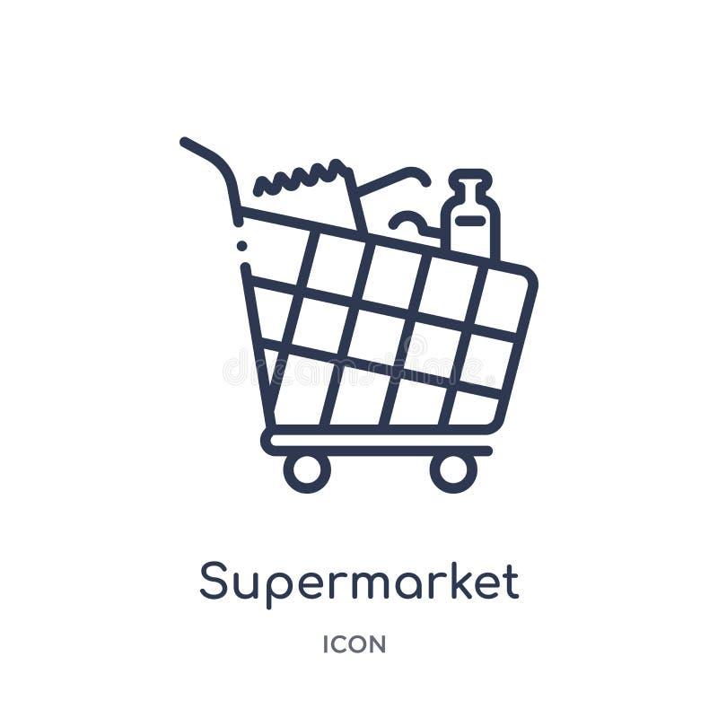 Linjär symbol för supermarketshoppingvagn från kommersöversiktssamling Tunn linje symbol för supermarketshoppingvagn som isoleras royaltyfri illustrationer