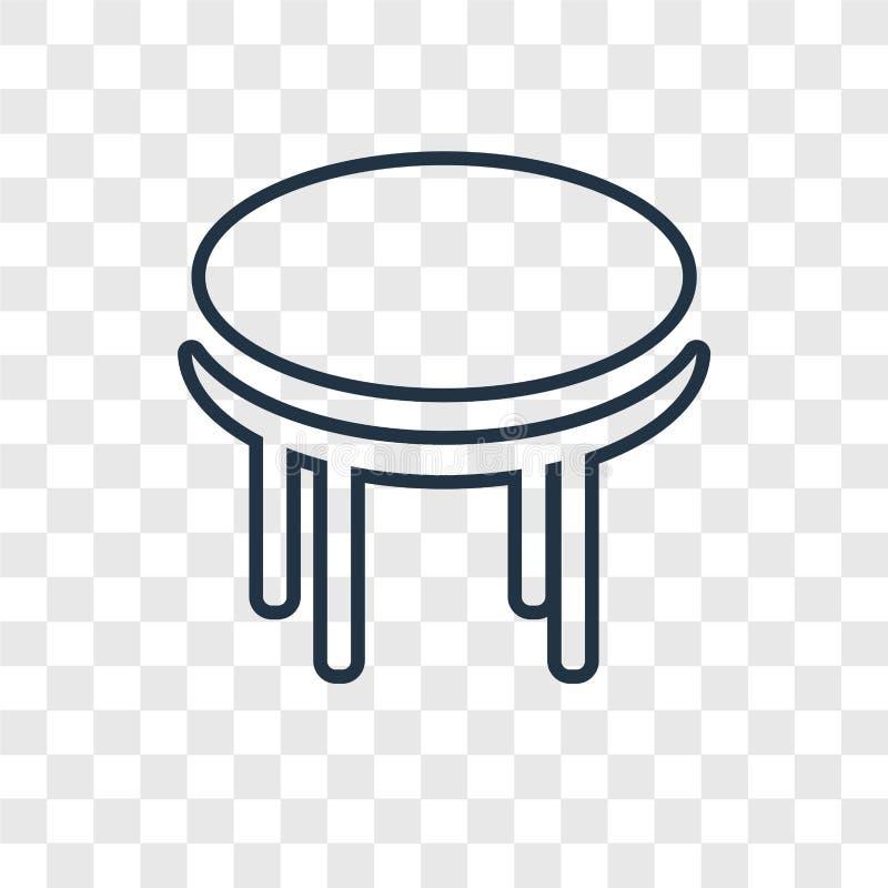 Linjär symbol för tabellbegreppsvektor som isoleras på genomskinlig backgro royaltyfri illustrationer