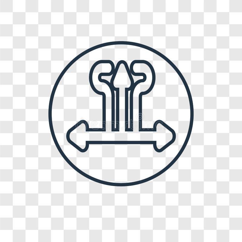 Linjär symbol för tandstenbegreppsvektor som isoleras på genomskinlig backgr stock illustrationer