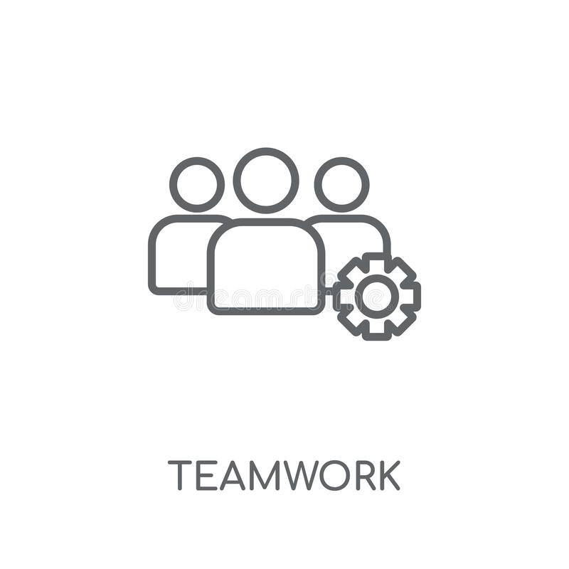 Linjär symbol för teamwork Modernt begrepp för översiktsteamworklogo på wh stock illustrationer