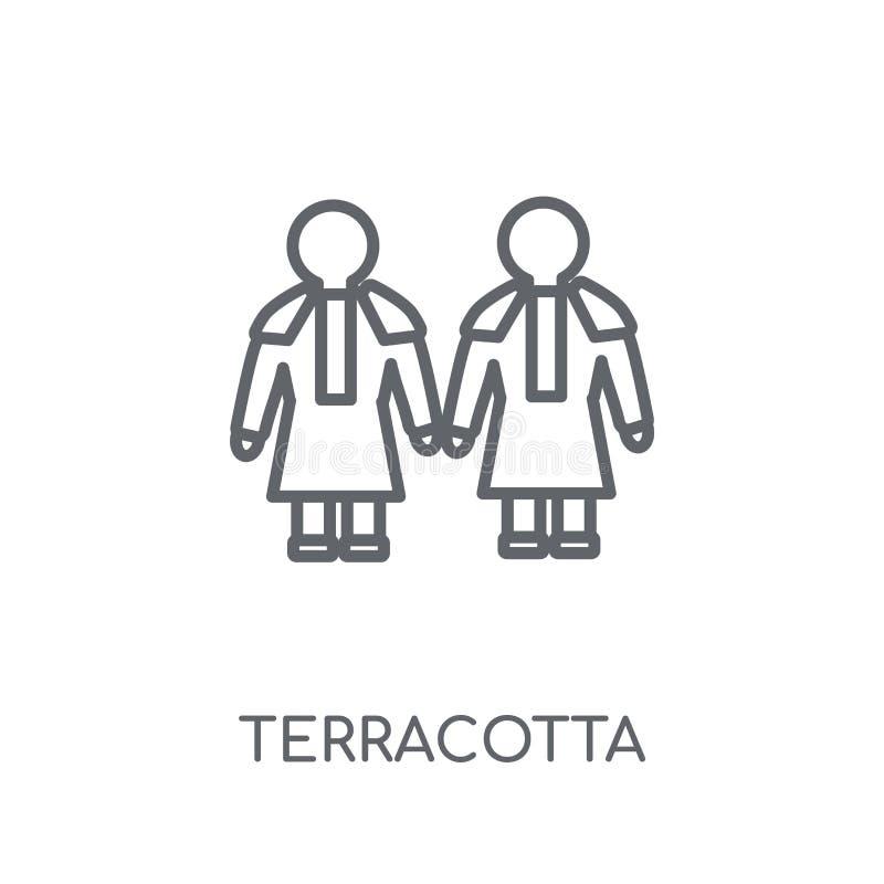 Linjär symbol för terrakotta Modern nolla för begrepp för översiktsterrakottalogo royaltyfri illustrationer