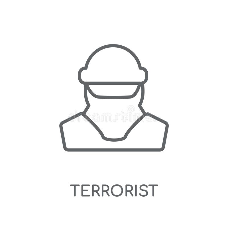 Linjär symbol för terrorist Modernt begrepp för översiktsterroristlogo på royaltyfri illustrationer