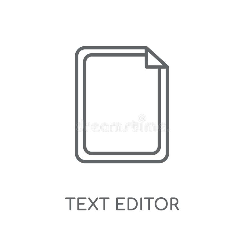 Linjär symbol för textredaktör Modernt begrepp för logo för översiktstextredaktör vektor illustrationer