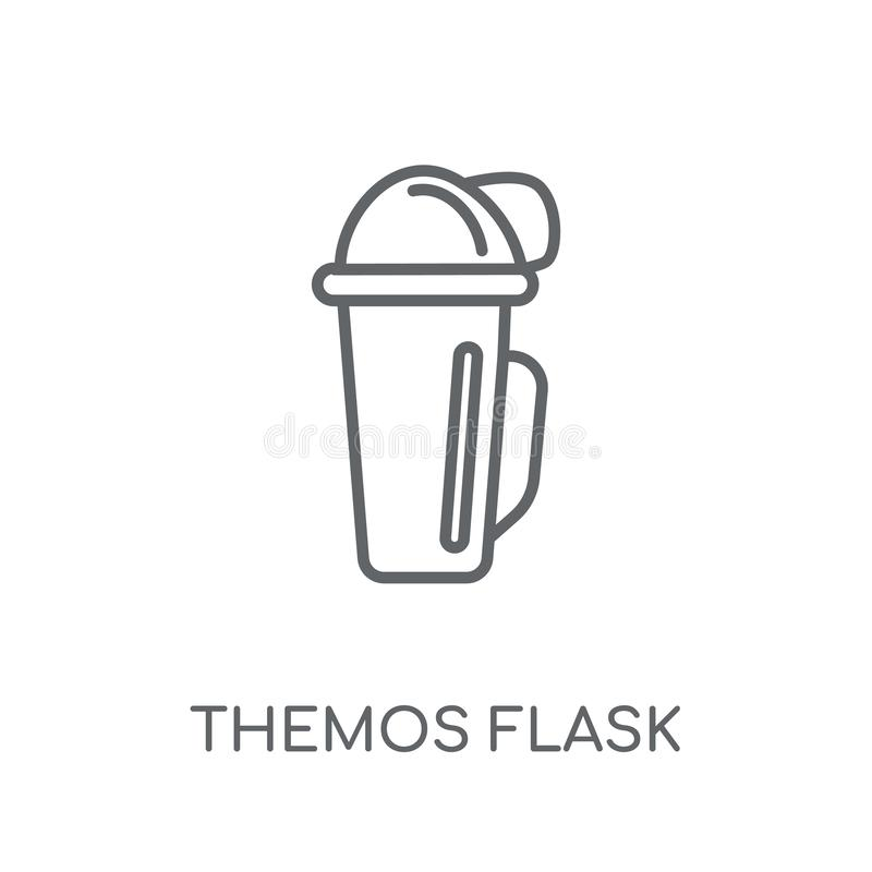 Linjär symbol för Themos flaska Modern conce för logo för översiktsThemos flaska royaltyfri illustrationer