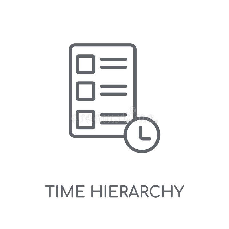 Linjär symbol för Tid hierarki Modern logo c för översiktsTid hierarki royaltyfri illustrationer