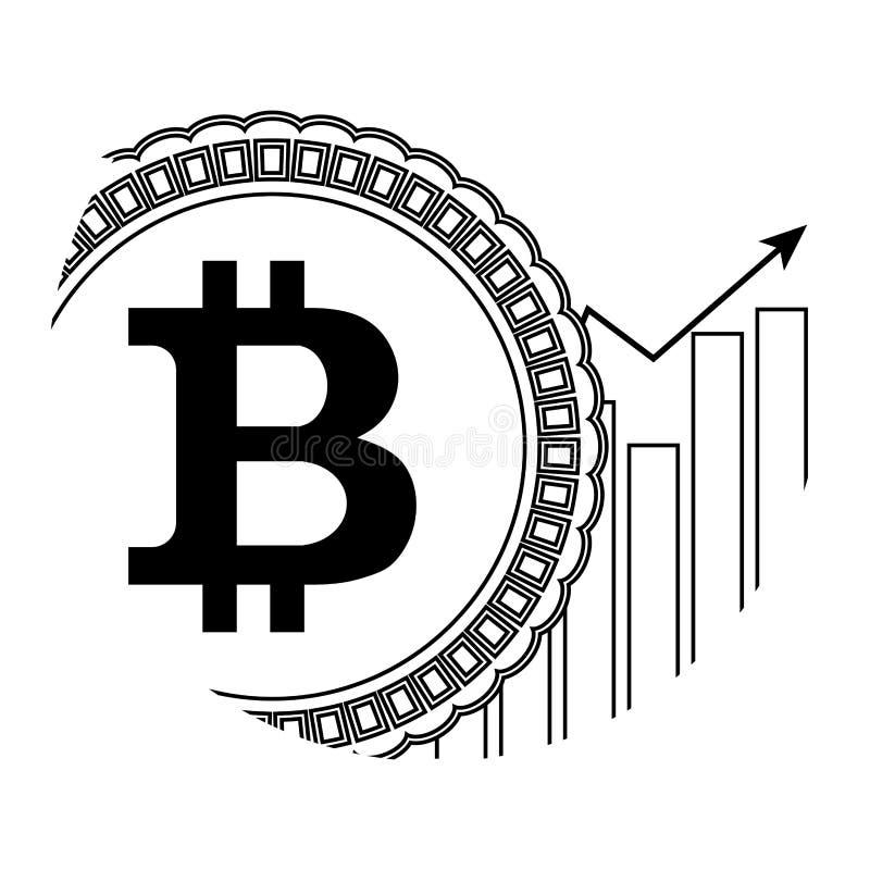 Linjär symbol för tillväxtprisbitcoin vektor illustrationer
