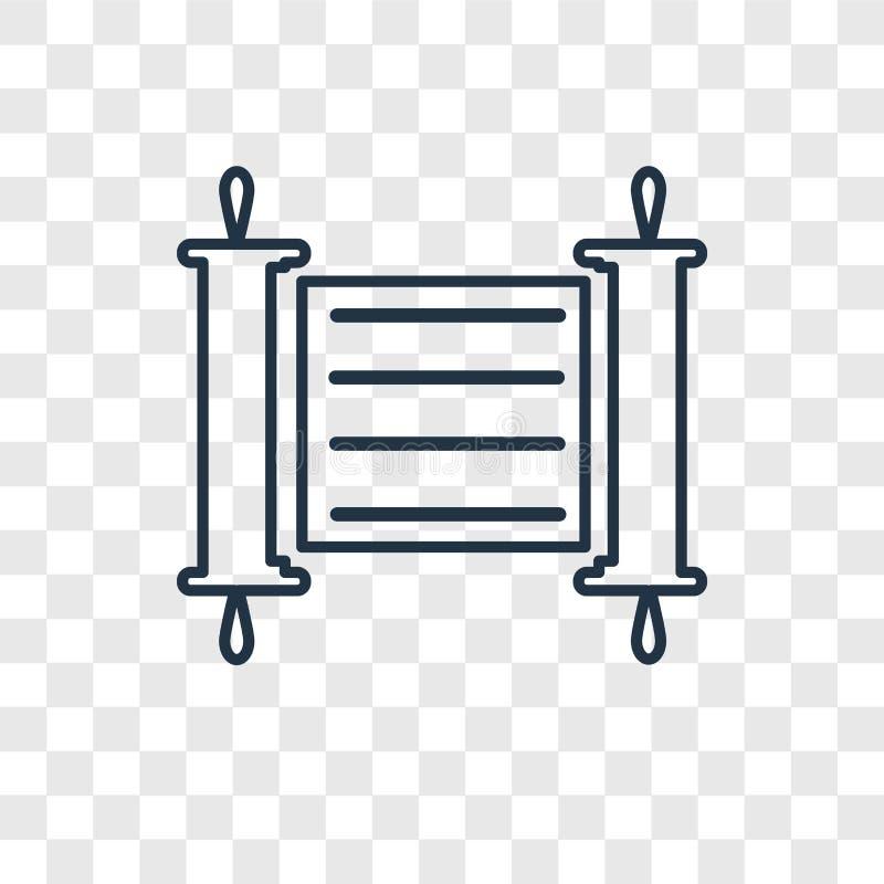 Linjär symbol för Torah begreppsvektor som isoleras på genomskinlig backgro stock illustrationer
