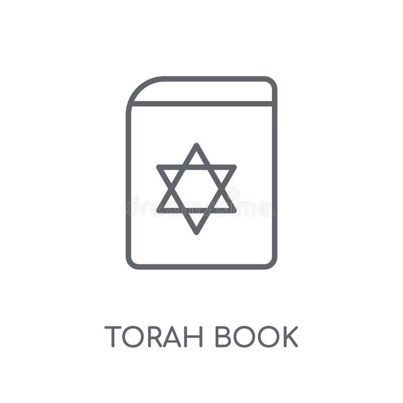 Linjär symbol för Torah bok Modern nolla för begrepp för logo för översiktsTorah bok vektor illustrationer