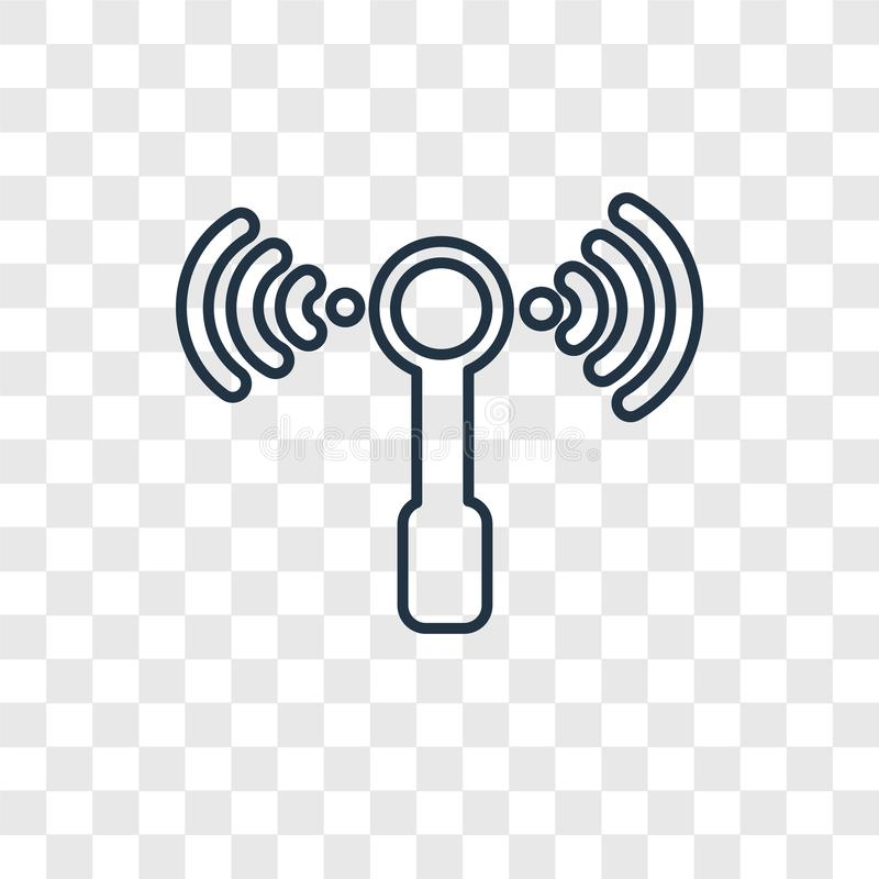 Linjär symbol för trådlös begreppsvektor som isoleras på genomskinlig baksida royaltyfri illustrationer