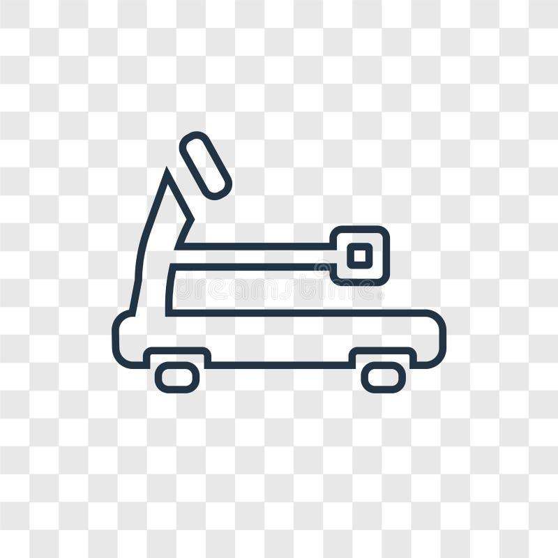 Linjär symbol för trampkvarnbegreppsvektor som isoleras på genomskinlig bac royaltyfri illustrationer