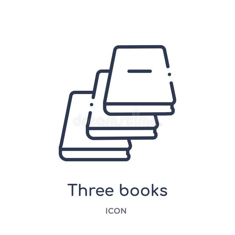 Linjär symbol för tre böcker från utbildningsöversiktssamling Tunn linje tre boksymbol som isoleras på vit bakgrund böcker tre royaltyfri illustrationer