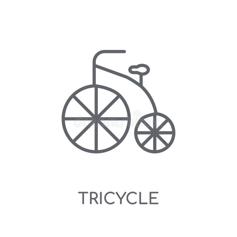 Linjär symbol för trehjuling Modernt begrepp för översiktstrehjulinglogo på wh royaltyfri illustrationer