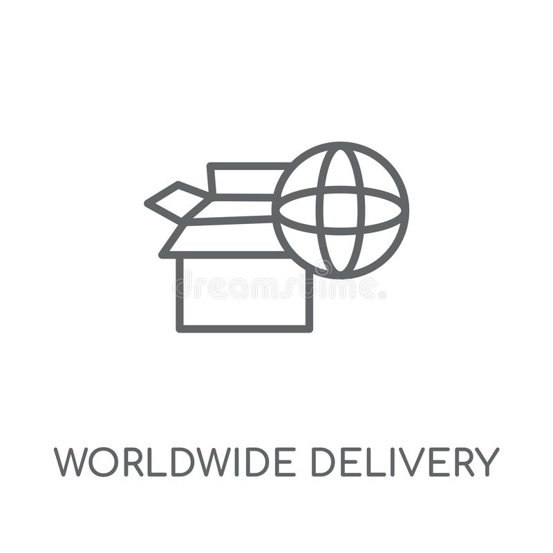 linjär symbol för världsomspännande leverans Modern översikt över hela världen att leverera stock illustrationer