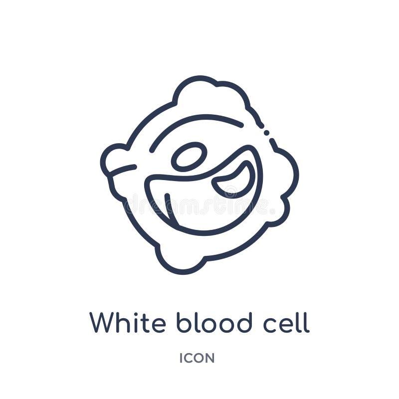 Linjär symbol för vit blodcell från samling för översikt för människokroppdelar Tunn linje symbol för vit blodcell som isoleras p vektor illustrationer