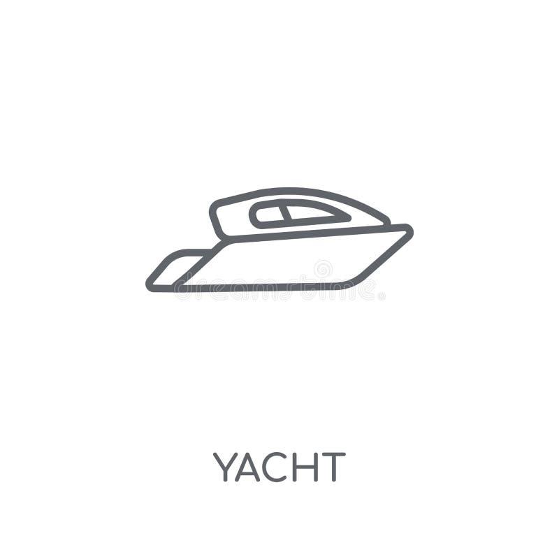 Linjär symbol för yacht Modernt begrepp för översiktsyachtlogo på vita lodisar stock illustrationer