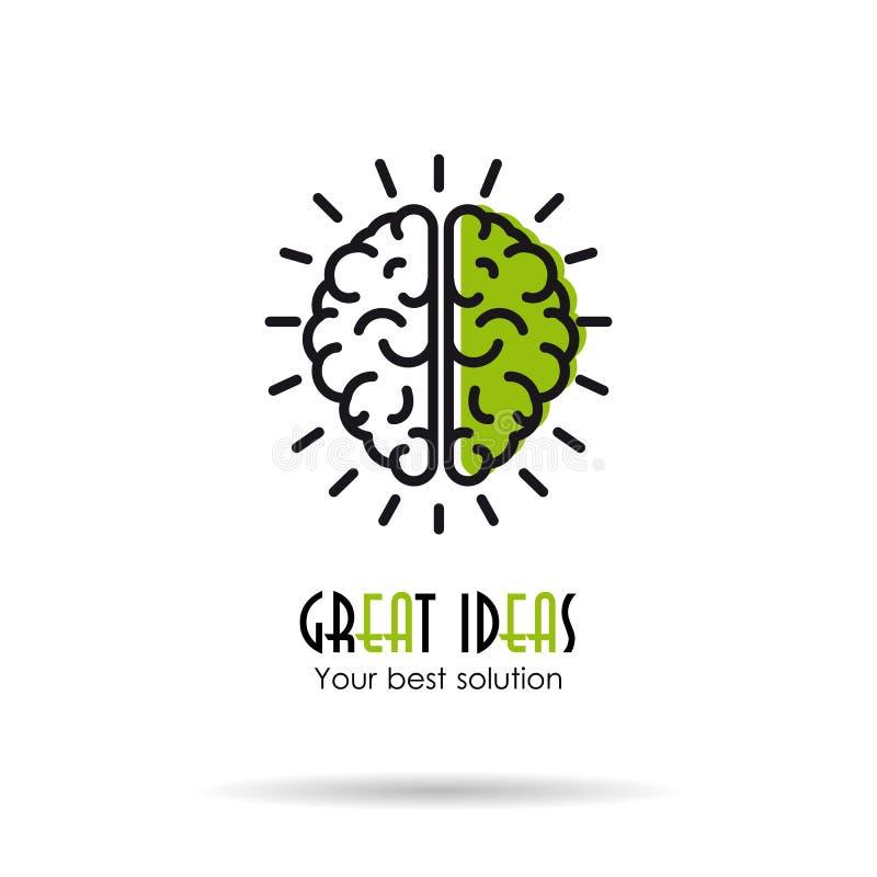 Linjär symbol - stora idéer - hjärna royaltyfri illustrationer