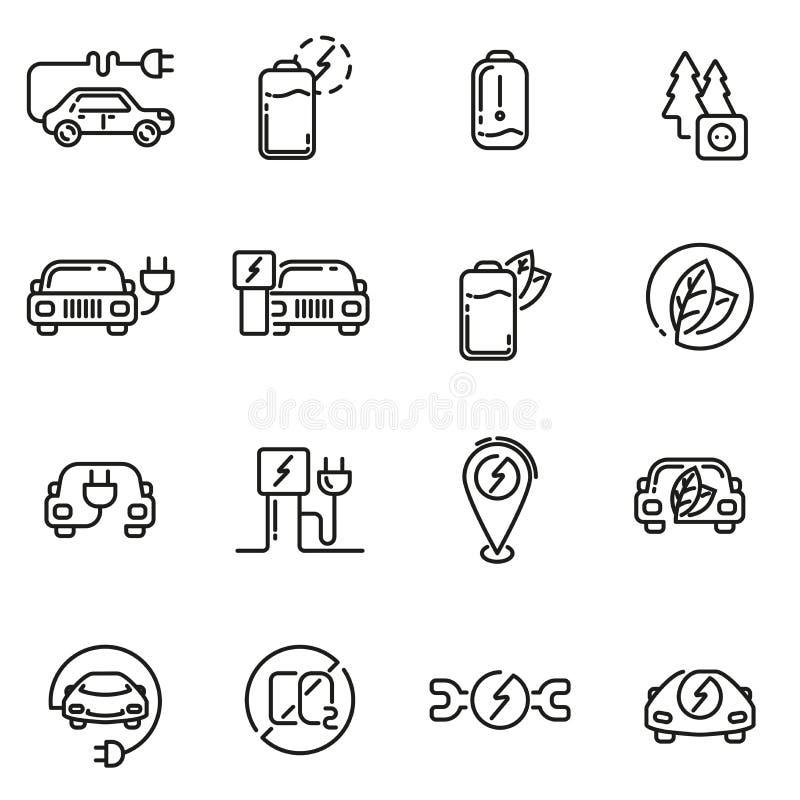 Linjär symbolsuppsättning för elbil stock illustrationer