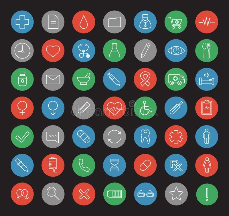 Linjär symbolsuppsättning för sjukhus stock illustrationer