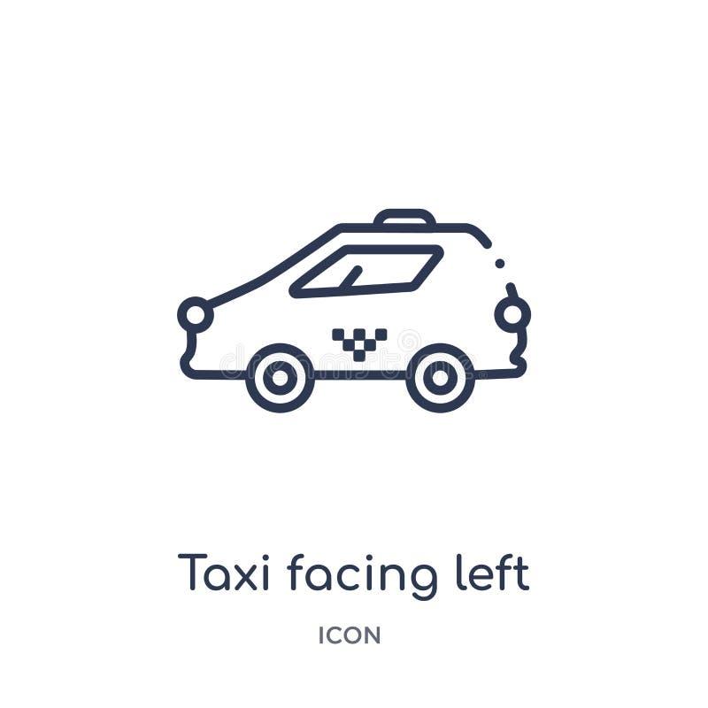 Linjär taxi som vänder mot den vänstra symbolen från Mechanicons översiktssamling Den tunna linjen att vända mot för taxi lämnade royaltyfri illustrationer