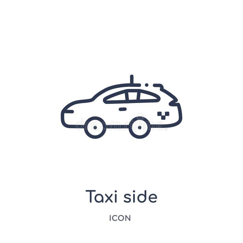 Linjär taxisidosymbol från Mechanicons översiktssamling Tunn linje taxisidosymbol som isoleras på vit bakgrund moderiktig taxisid stock illustrationer