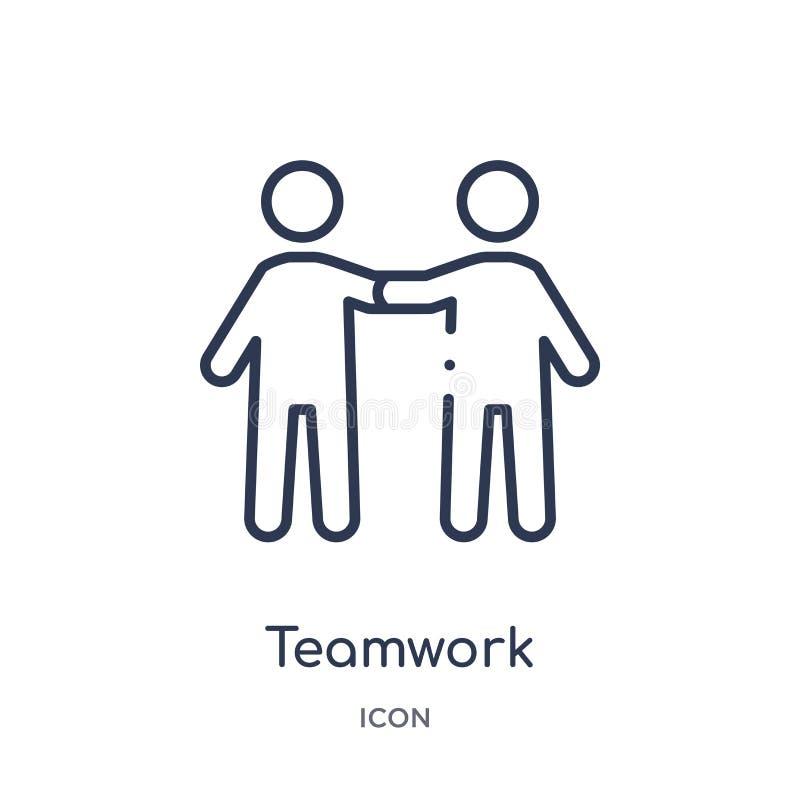 Linjär teamworksymbol från personalresursöversiktssamling Tunn linje teamworksymbol som isoleras på vit bakgrund Teamwork royaltyfri illustrationer