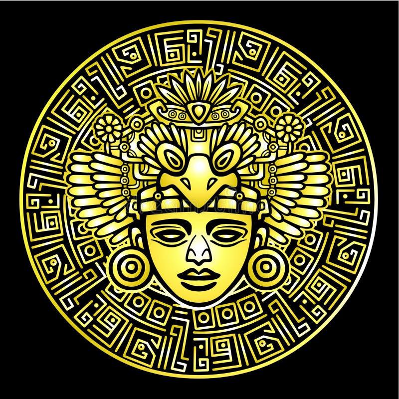 Linjär teckning: dekorativ bild av en forntida indisk gud Guld- efterföljd stock illustrationer