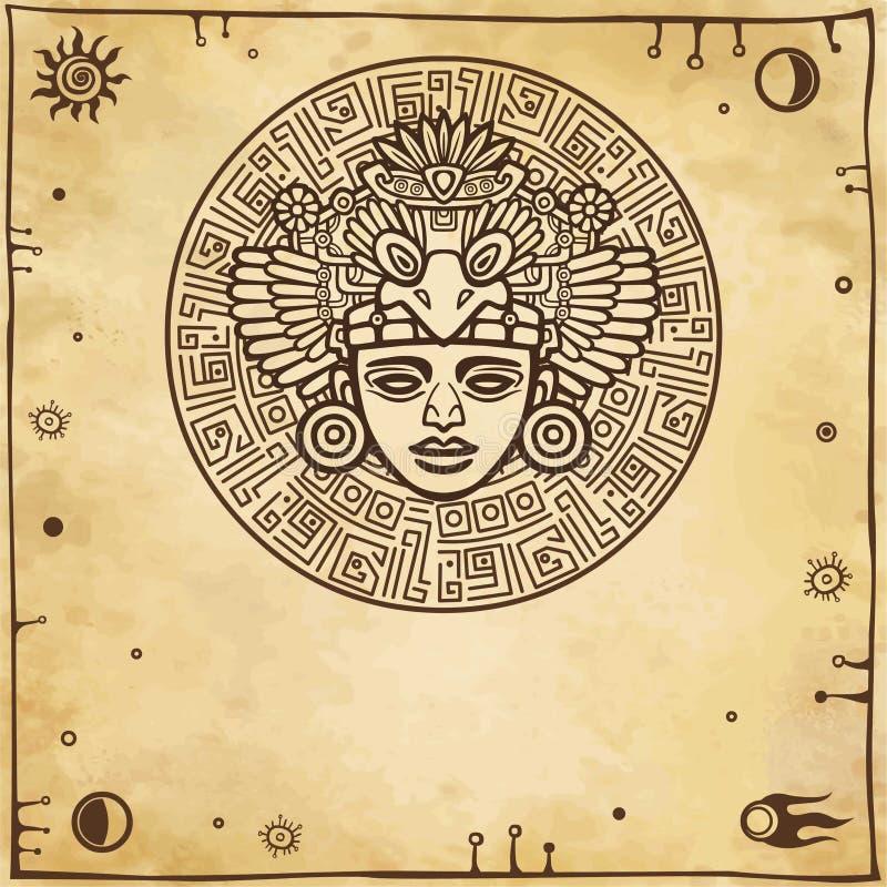 Linjär teckning: dekorativ bild av en forntida indisk gud Utrymmesymboler stock illustrationer