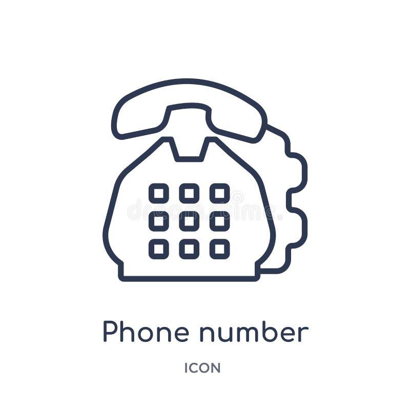 Linjär telefonnummersymbol från samling för allmän översikt Tunn linje telefonnummersymbol som isoleras på vit bakgrund Telefonnu stock illustrationer