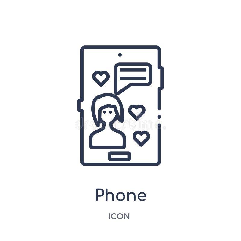 Linjär telefonsymbol från blogger- och influenceröversiktssamling Tunn linje telefonvektor som isoleras på vit bakgrund Telefon vektor illustrationer