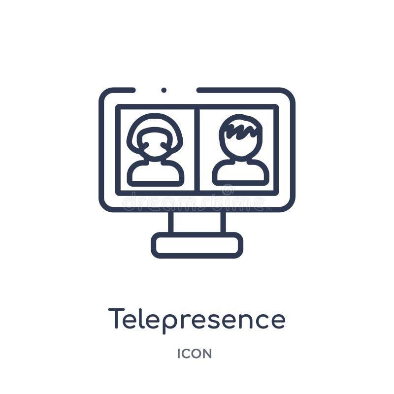 Linjär telepresencesymbol från översiktssamling för konstgjord intelligens Tunn linje telepresencevektor som isoleras på vit stock illustrationer