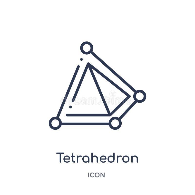 Linjär tetrahedronsymbol från geometriöversiktssamling Tunn linje tetrahedronsymbol som isoleras på vit bakgrund tetrahedron royaltyfri illustrationer