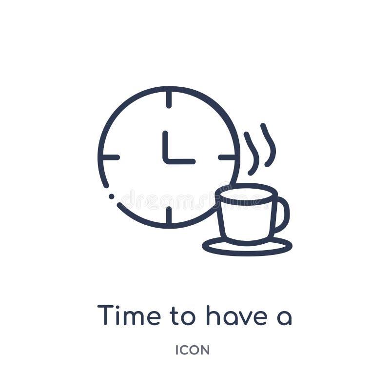 Linjär tid att ha en avbrottssymbol från matöversiktssamling Tunn linje tid att ha en avbrottssymbol som isoleras på vit bakgrund stock illustrationer