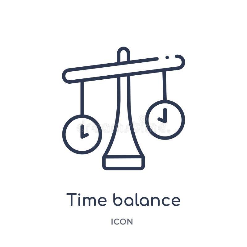 Linjär tidjämviktssymbol från personalresursöversiktssamling Tunn linje tidjämviktssymbol som isoleras på vit bakgrund Tid royaltyfri illustrationer