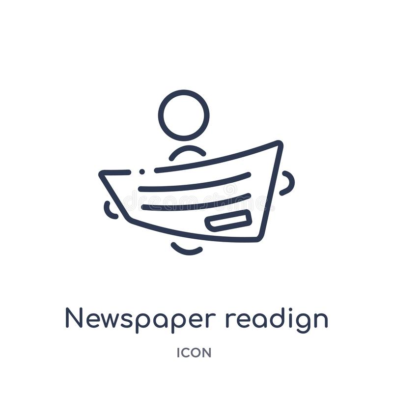 Linjär tidningsreadignsymbol från aktivitet och hobbyöversiktssamling Tunn linje tidningsreadignvektor som isoleras på vit royaltyfri illustrationer