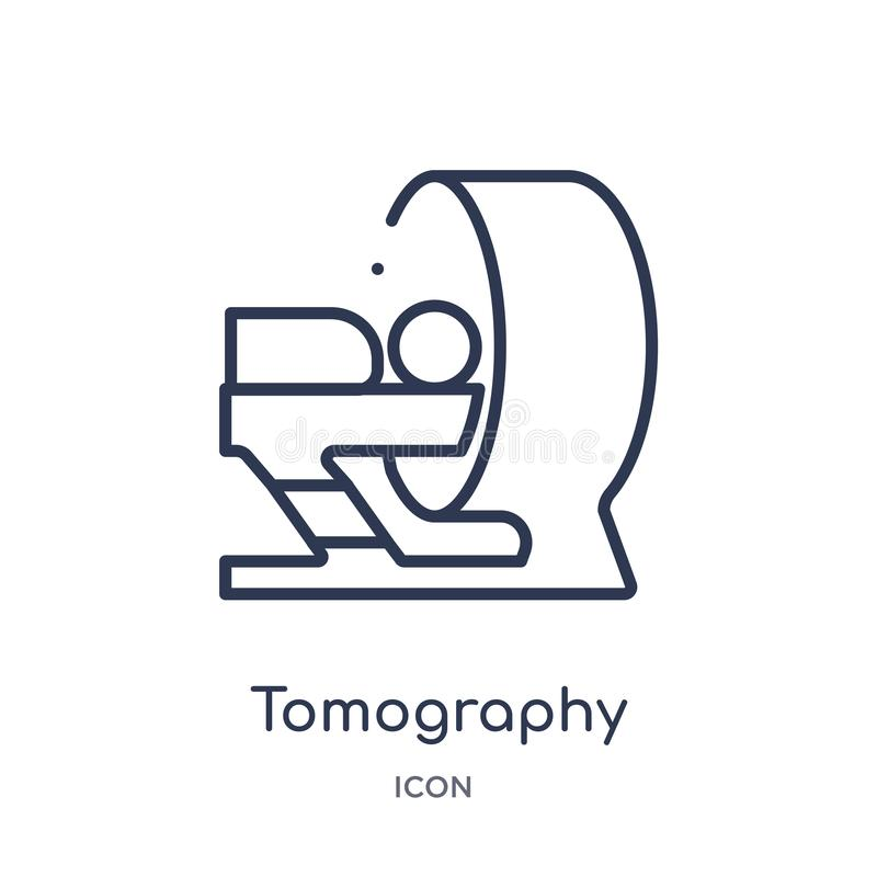 Linjär tomographysymbol från medicinsk översiktssamling Tunn linje tomographysymbol som isoleras på vit bakgrund moderiktig tomog stock illustrationer