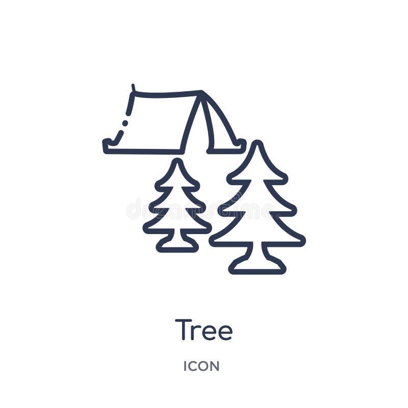Linjär trädsymbol från campa översiktssamling Tunn linje trädvektor som isoleras på vit bakgrund moderiktig illustration för träd vektor illustrationer