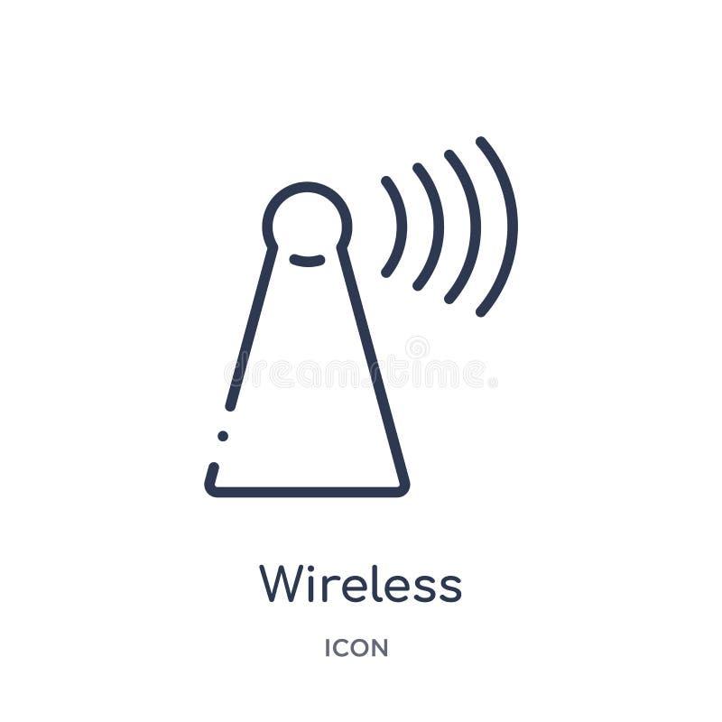 Linjär trådlös anslutningssymbol från säkerhet och att knyta kontakt för internet översiktssamlingen Tunn linje trådlös anslutnin royaltyfri illustrationer