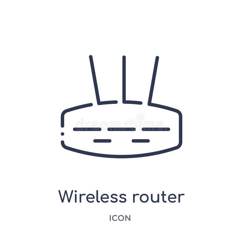 Linjär trådlös routersymbol från säkerhet och att knyta kontakt för internet översiktssamlingen Tunn linje trådlös routersymbol s vektor illustrationer