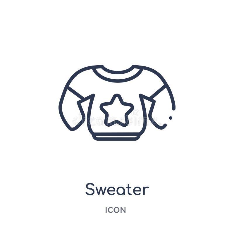 Linjär tröjasymbol från höstöversiktssamling Tunn linje tröjavektor som isoleras på vit bakgrund moderiktig tröja stock illustrationer