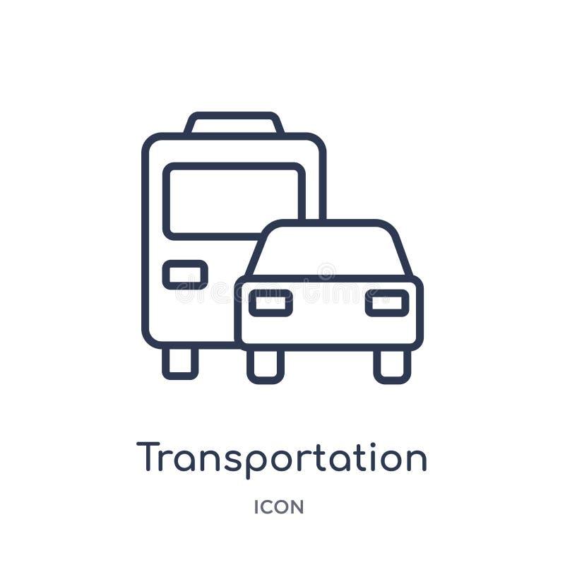 Linjär trans.symbol från leverans och logistisk översiktssamling Tunn linje trans.vektor som isoleras på vit royaltyfri illustrationer