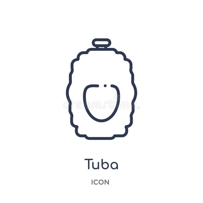 Linjär tubasymbol från drinköversiktssamling Tunn linje tubavektor som isoleras på vit bakgrund moderiktig illustration för tuba stock illustrationer