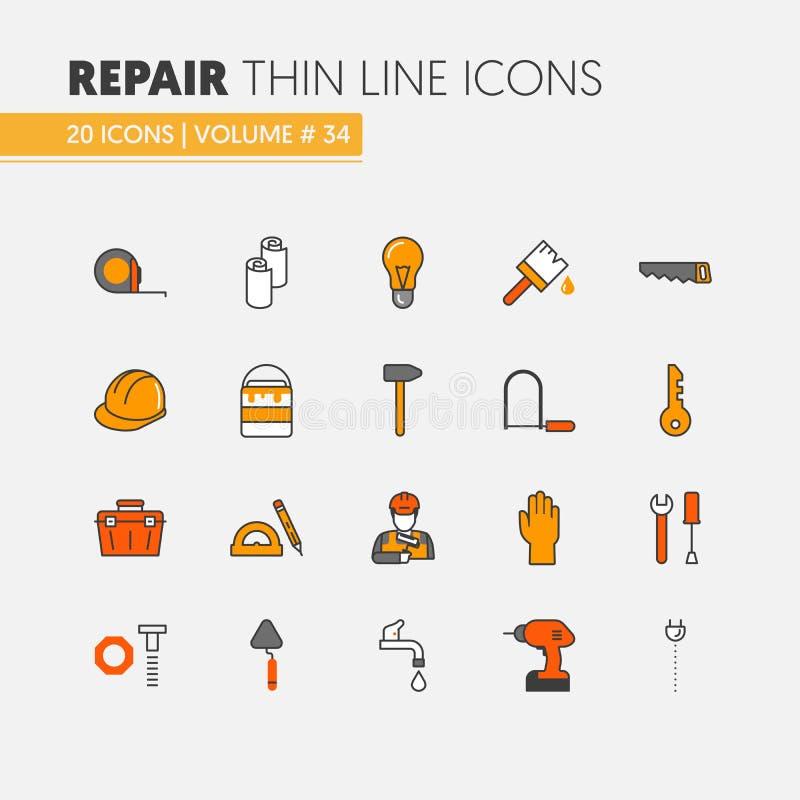 Linjär tunn linje symbolsuppsättning för husreparationsrenovering med repairmanen och hjälpmedel stock illustrationer