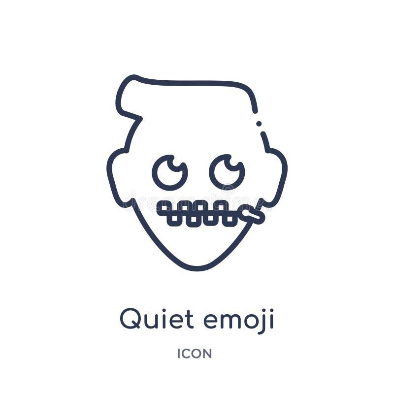 Linjär tyst emojisymbol från Emoji översiktssamling Tunn linje tyst emojivektor som isoleras på vit bakgrund tyst emoji vektor illustrationer