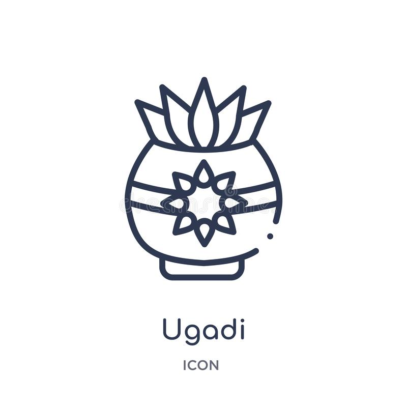 Linjär ugadisymbol från Indien översiktssamling Tunn linje ugadisymbol som isoleras på vit bakgrund moderiktig illustration för u vektor illustrationer