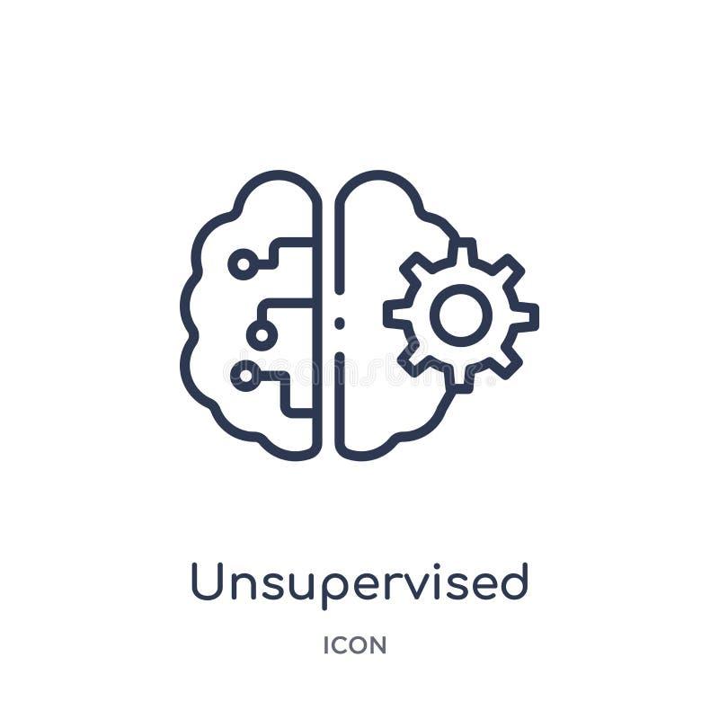 Linjär unsupervised lärande symbol från konstgjord intellegence och den framtida teknologiöversiktssamlingen Unsupervised tunn li vektor illustrationer